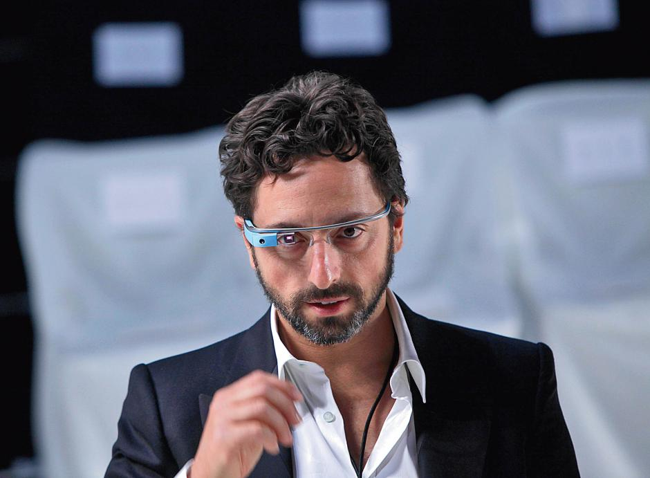 Google co-founder Sergey Brin wears Google Glass in New York, Sept. 9, 2012. SETH WENIG/AP