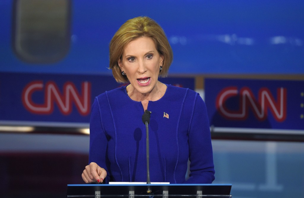 Republican presidential candidate, businesswoman Carly Fiorina, makes a point during the CNN Republican presidential debate at the Ronald Reagan Presidential Library and Museum, Wednesday, Sept. 16, 2015, in Simi Valley, Calif. (AP Photo/Mark J. Terrill)