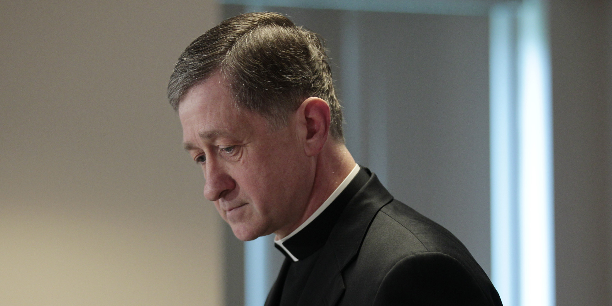 Bishop Blase Cupich of Spokane Wash., walks away from the podium after making a statement at a news conference by the US Conference of Catholic Bishops (USCCB) releasing the findings of a study to analyze the pattern of clergy sex abuse during at USCCB headquarters, Wednesday, May 18, 2011 in Washington. The study, commissioned by the nation's Roman Catholic bishops, from the John Jay College of Criminal Justice in New York, concluded that homosexuality, celibacy and an all-male priesthood did not cause the scandal. (AP Photo/Pablo Martinez Monsivais)