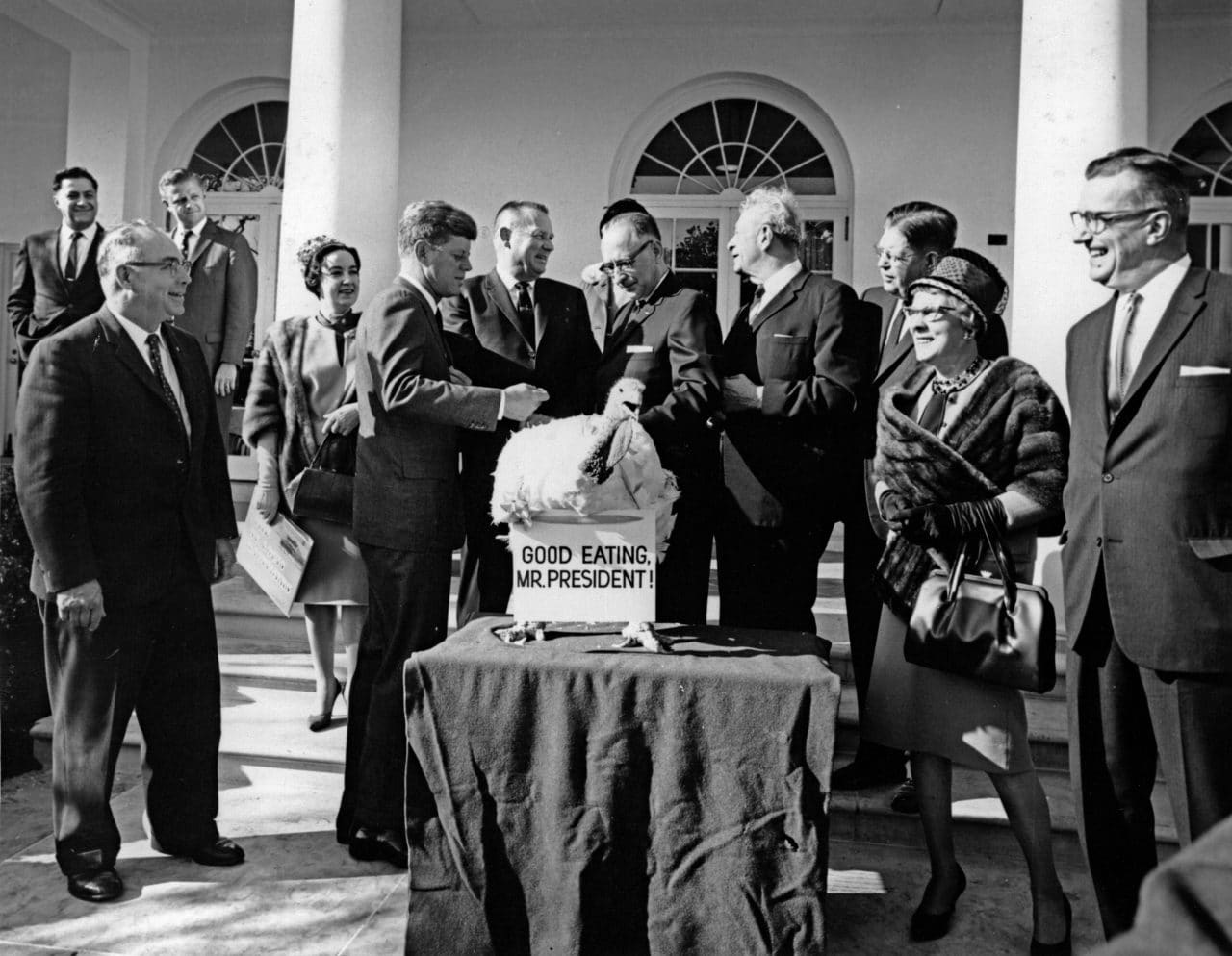 """AR8247-F19 November 1963 Presentation of a Thanksgiving Turkey to President Kennedy, 10:00AM. Please credit """"Abbie Rowe. White House Photographs. John F. Kennedy Presidential Library and Museum, Boston"""""""