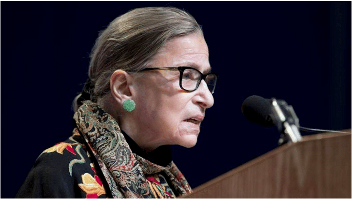 U.S. Supreme Court Justice Ruth Bader Ginsburg, the oldest currently serving justice, speaks at Brandeis University in Waltham, Mass. on Jan. 28. (Michael Dwyer / Associated Press)