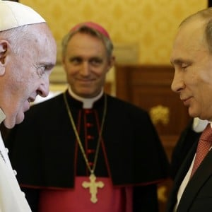 Pope Francis met Russian President Vladimir Putin during a private audience at the Vatican June 10, 2015. (AP Photo/Gregorio Borgia)