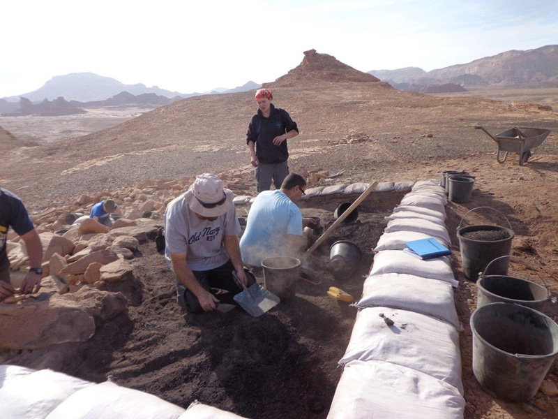 The excavation of a metallurigical workshop at Site 34, Central Timna Valley Project. Photo courtesy of ,courtesy of the Israel Antiquities Authority