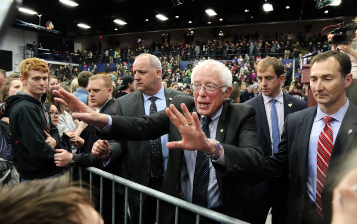 Bernie Sanders greets supporters after his rally on Saturday, April 2, 2016 at Zorn Arena in Eau Claire, Wis. (Marisa Wojcik/The Eau Claire Leader-Telegram via AP) MANDATORY CREDIT