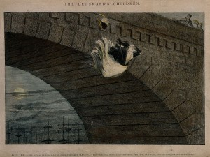 A destitute girl throws herself from a bridge, her life ruined by alcoholism. Coloured etching by G. Cruikshank, 1848, after himself. This file comes from Wellcome Images, a website operated by Wellcome Trust, a global charitable foundation based in the United Kingdom.
