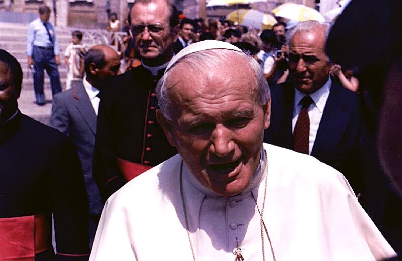 Pope John Paul II at a Papal Audience on 17 July, 1985—St. Peter's Square, Vatican City. Author: James G. Howes