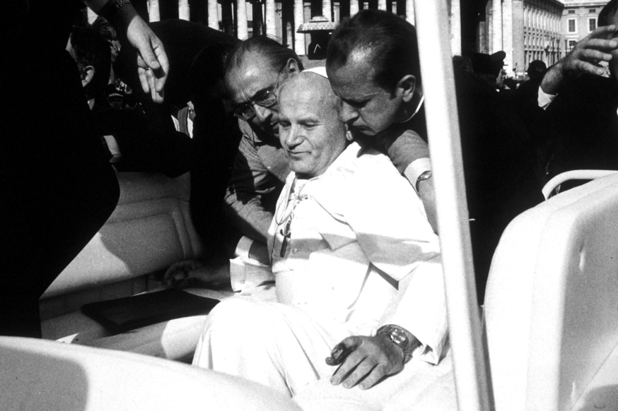 May 13, 1981: Attempted assassination of Pope John Paul II in St. peter's Square at the vatican.