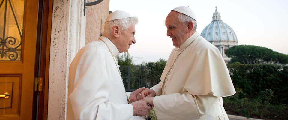 "This handout picture released on December 23, 2013 by the Vatican press office shows Pope Francis (R) meeting with Pope Emeritus Benedict XVI at the Mater Ecclesiae monastery at the Vatican. AFP PHOTO / OSSERVATORE ROMANO/HO  RESTRICTED TO EDITORIAL USE - MANDATORY CREDIT ""AFP PHOTO / OSSERVATORE ROMANO"" - NO MARKETING NO ADVERTISING CAMPAIGNS - DISTRIBUTED AS A SERVICE TO CLIENTS"