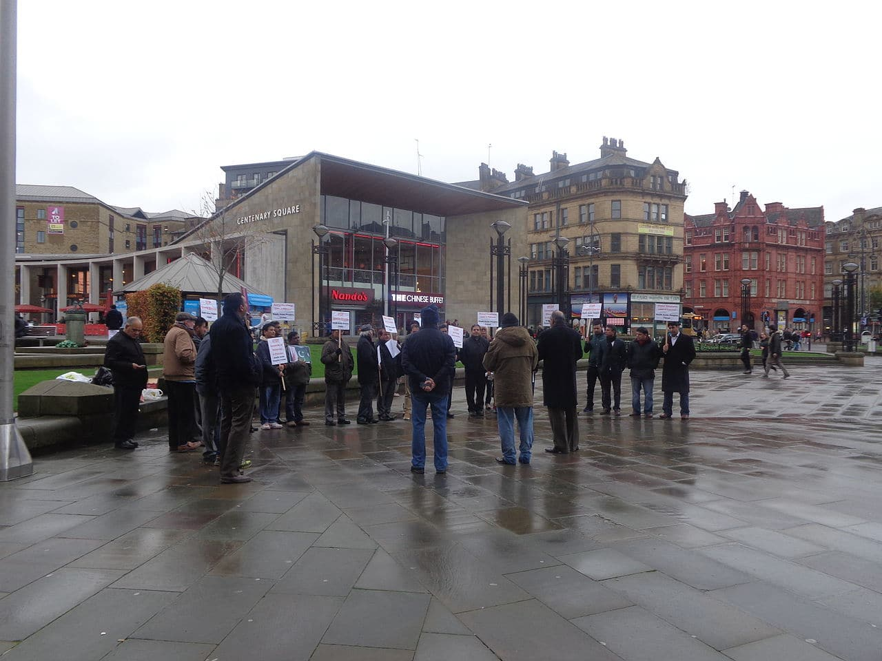 Anti-Pakistani blasphemy law protest, Centenary Square, Bradford, West Yorkshire. Taken on the afternoon of Saturday the 8th of November 2014. CC BY-SA 4.0