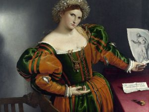 Portrait of a Woman Inspired by Lucretia by Lorenzo Lotto, c. 1533 [National Gallery, London]
