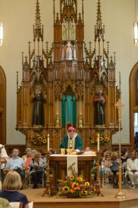 Archbishop Allen H. Vigneron celebrates Mass at St. Bonaventure Monastery in Detroit on July 31 in honor of the 59th anniversary of the death of Venerable Fr. Solanus Casey. (Mike Stechschulte | The Michigan Catholic)