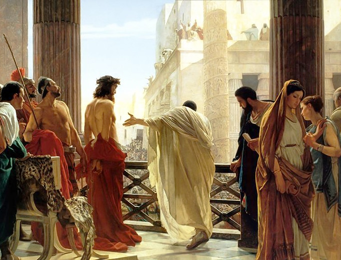 """John 18:37-38: """"So Pilate said to him, 'Then you are a king?' Jesus answered, 'You say I am a king. For this I was born and for this I came into the world, to testify to the truth. Everyone who belongs to the truth listens to my voice.' Pilate said to him, 'What is truth?'"""" (Antonio Ciseri, """"Ecce Homo"""" (1871))"""